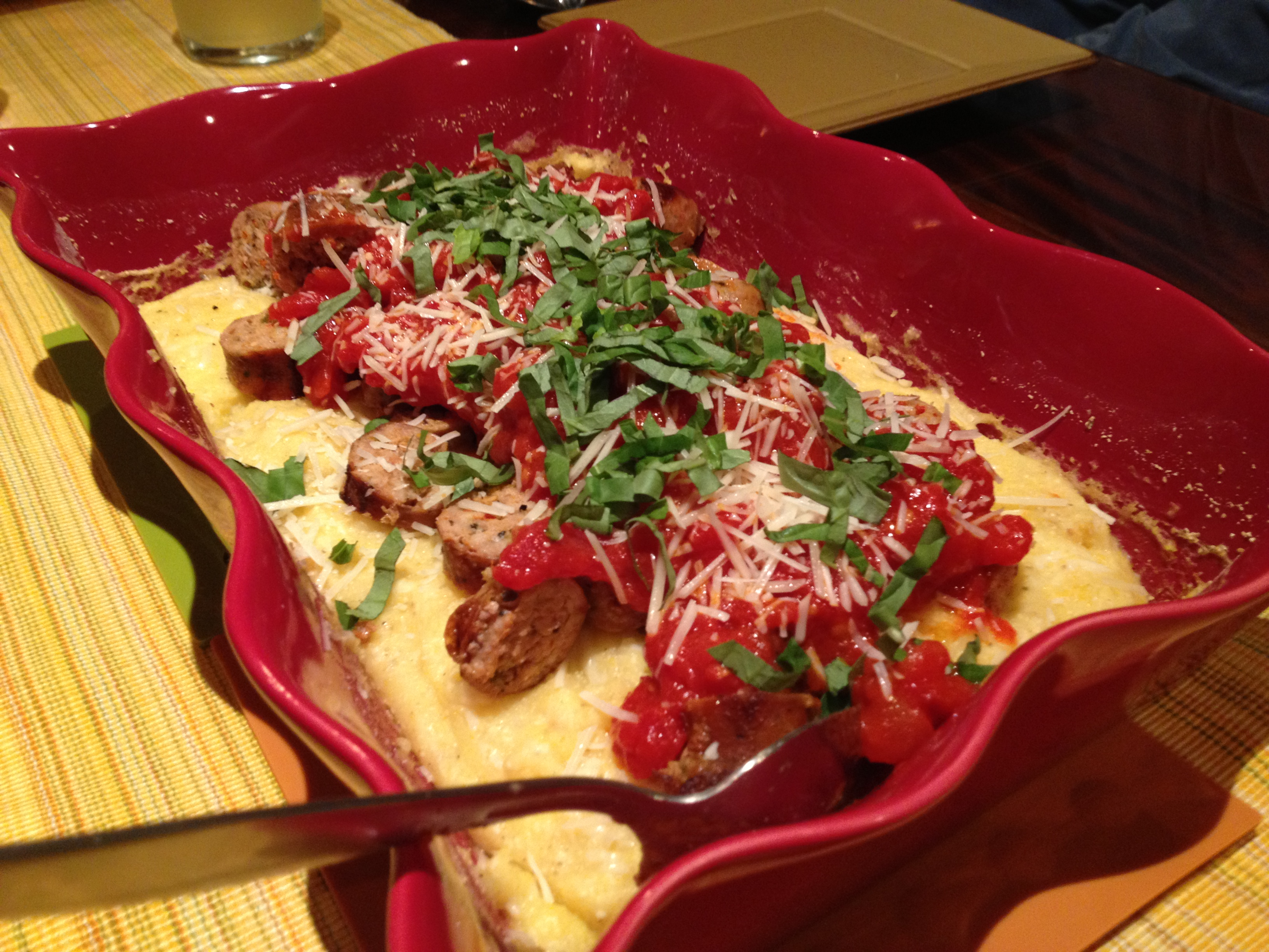 The entrée – Baked Polenta with Tomato-Basil Sauce and Sausage: